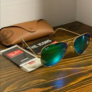 Ray-Ban Aviator Sunglasses Green Flash Lens 58mm
